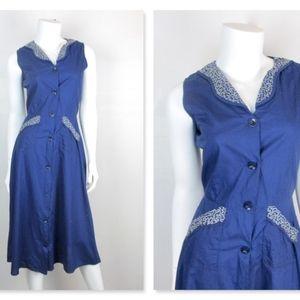 Vintage 1940's - 1950's Navy Blue Cotton Dress, S